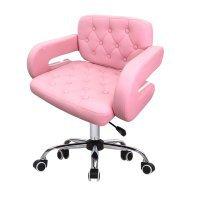 Стул мастера London, 62см, розовый, экокожа, на колесиках - 627353